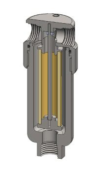 Stainless steel filter housing cross-section